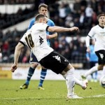 Derby County's Ben Davies scores against Leeds United