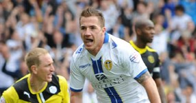 ROSS McCORMACK CELEBRATES SCORING LEEDS FIRST GOAL